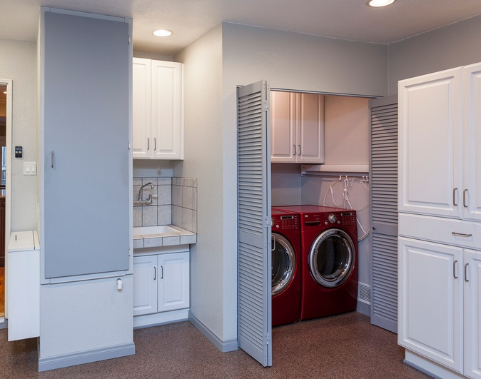 Laundry Room In Garage Decorating Ideas With Folding Louvered Doors