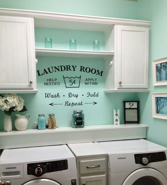 Light blue paint color for small laundry room with white for Painting ideas for small laundry room