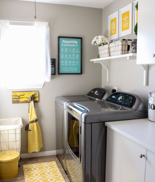 Simple Laundry Room Makeovers With Pegboard On Wall