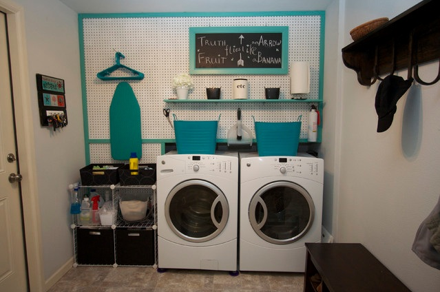 Simple Laundry Room Makeovers With Pegboard On Wall And Other Related Images Gallery