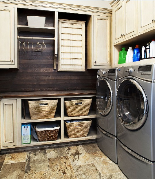 Small Narrow Laundry Room Ideas With Wood Wall Panel Cabinet