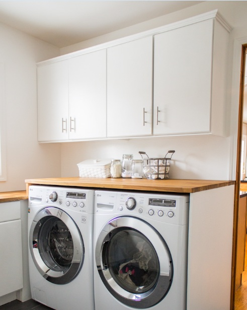 Light Blue Paint Color For Small Laundry Room With White