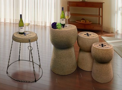 wine themed kitchen decorating ideas with giant cork stool. Black Bedroom Furniture Sets. Home Design Ideas