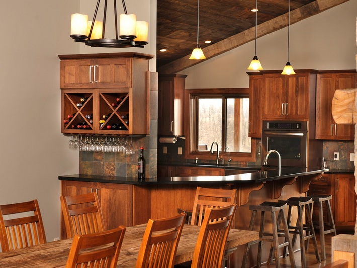Wine Themed Kitchen Decorating Ideas With Open Rack
