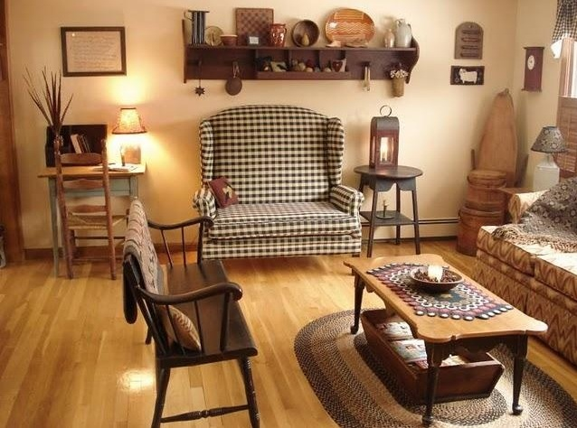 Primitive Decorating Ideas For Living Room With Simple Old Furniture  Arrangements