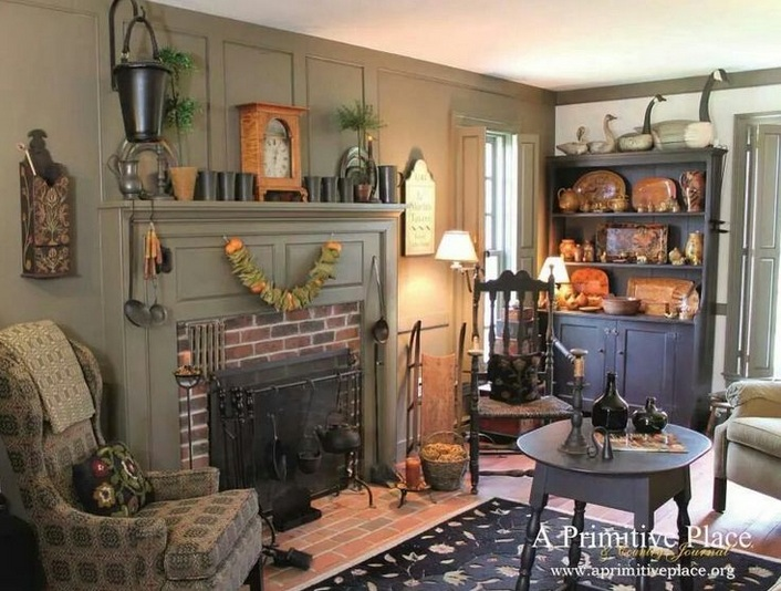 Primitive Decorating Ideas For Living Room With Wooden Crafts Appliances