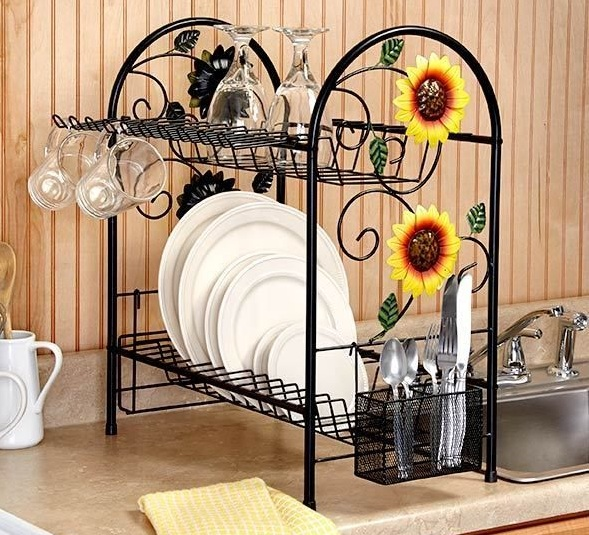 Sunflower kitchen decor theme ideas with sunflower dish rack ...