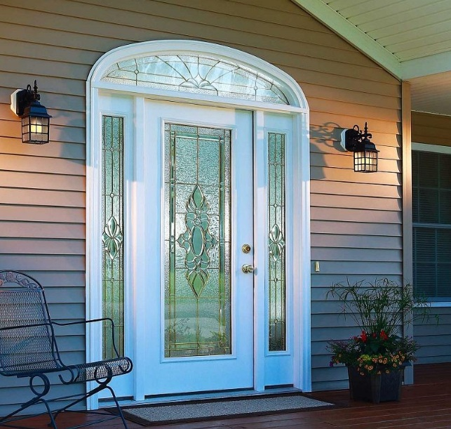 Decorative Glass Door Inserts In White Front Door With Sidelight