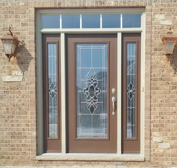 Decorative Glass Door Inserts With Brown Front White Frame