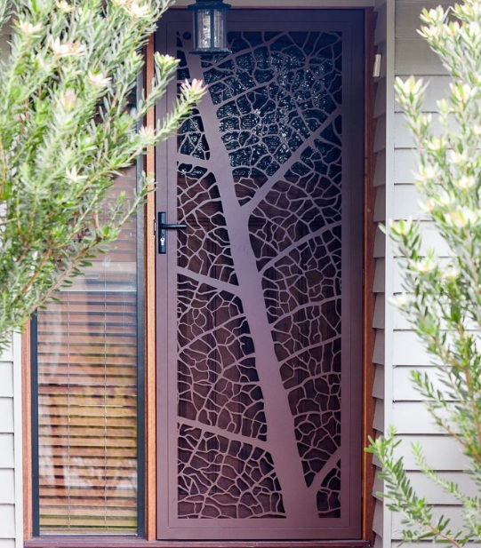 Leaf Vein Decorative Security Screen Doors With Steel Construction