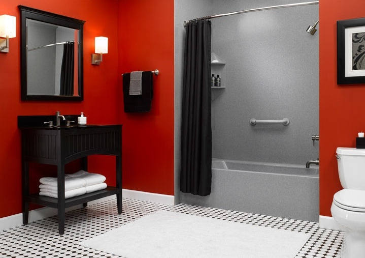 Red and white bathroom decor with black and white floor for Black white red bathroom decor