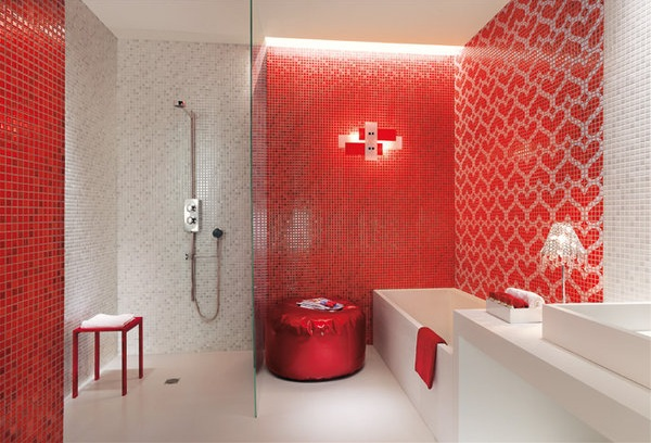 Red And White Bathroom Decor With Colors Furniture Accessories