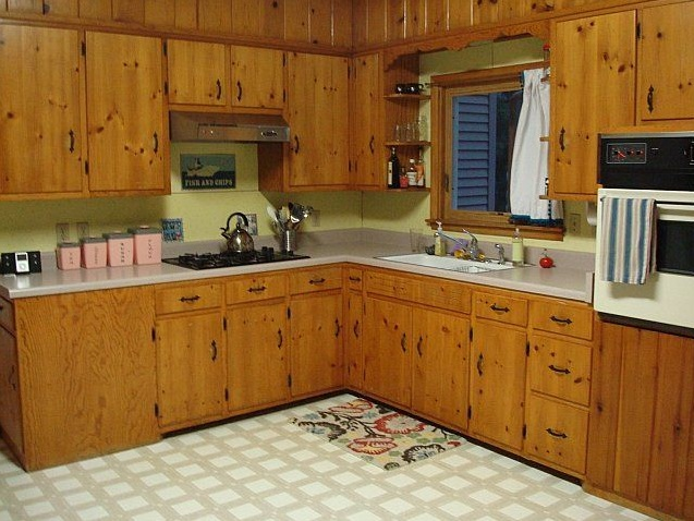 White kitchen paint colors with knotty pine cabinet ...