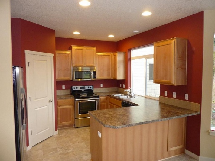 Maroon Kitchen Paint Colors With Oak Cabinets Decolover Net